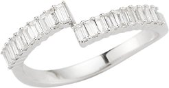 White Gold Sadie Pearl Split Baguette Diamond Ring