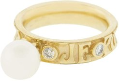 Dancing White Pearl Ring Wide