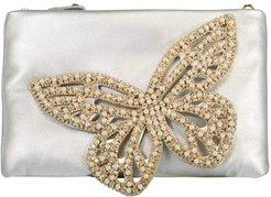 Butterfly Flossy Crystal Clutch - Silver & Pearl