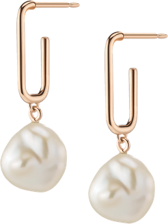 Organic Pearl Drop Rectangle Hoop Earrings - Rose - 18K - One Size