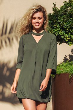Stylish Green V-Neck Shirt Dress