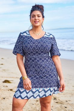 Blue Boho Print Plus Size Dress
