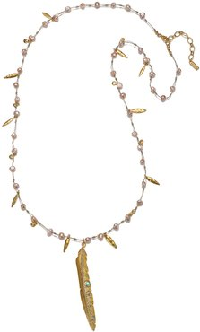 Lucky Feather & Pearl Long Pendant Necklace