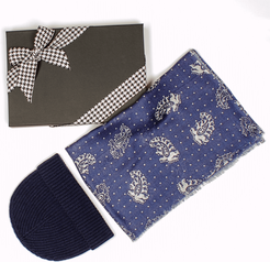 Paisley and Polka Dot Scarf and Navy Cashmere Beanie Gift Set
