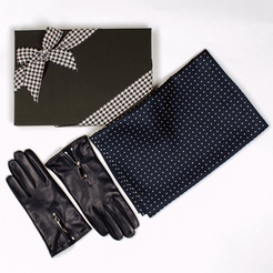 Navy Polka Dot Silk Scarf and Navy Italian Leather Gloves Gift Set