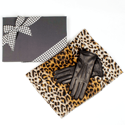 Leopard Print Scarf and Rabbit Fur Lined Leather Gloves Gift Set