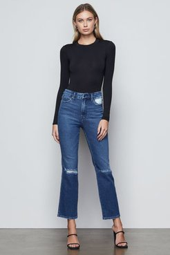 Good Curve Straight Blue444 Flared Ripped Jeans, Plus Size 24