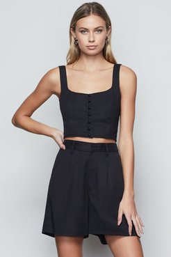 Corset Button Crop Black001, Plus Size 7
