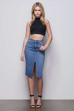 Pencil Skirt With Slit Blue420 Skirt, Plus Size 24