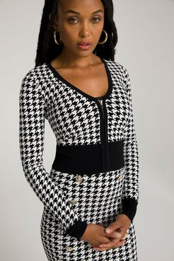 Lil Fitted Cardigan Houndstooth001, Size 1
