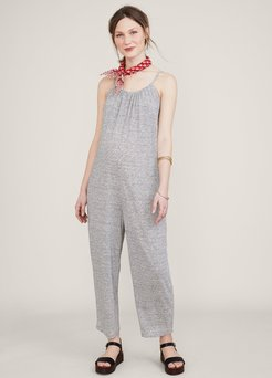 HATCH Maternity The Morgana Jumpsuit, white/charcoal Microstripe, Size 2