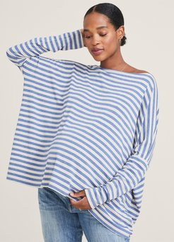 HATCH Maternity The Longsleeve Tee, stream/Oatmeal, Size 0