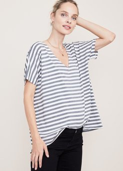 HATCH Maternity The Perfect Vee, charcoal/white Stripe, Size 0