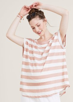 HATCH Maternity The Linen Circle Tee, Rose Stripe, Size 3