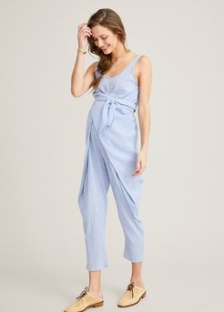 HATCH Maternity The Wrap Around Jumpsuit, Blue Gingham, Size 3