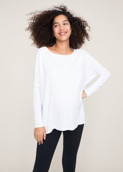 HATCH Maternity The Longsleeve Tee, white, Size 2