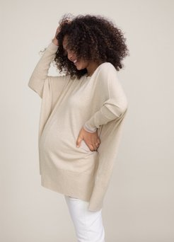 HATCH Maternity The Nadine Sweater, wheat, Size O/S