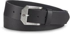 Black Leather Belt With Antiqued Silver Buckle