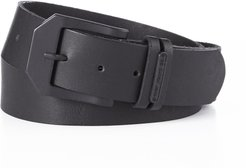Black Leather Belt With Black Buckle
