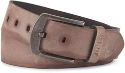 Brown Leather Belt With Copper Buckle