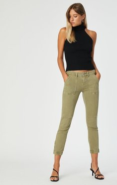 Ivy Cargo Pant In Army Green Twill