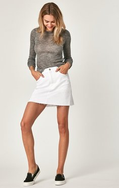 Lindsay A-line Skirt In Double White Tribeca