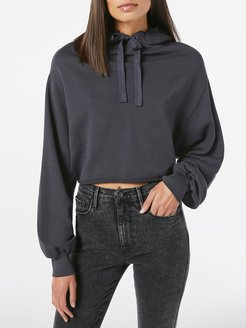 Crop Easy Hoodie Faded Noir Size XXS