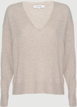 Le Low Rise V Sweater Oatmeal Heather Size XS