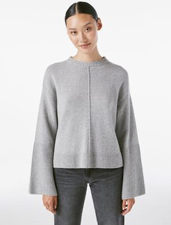 Bell Sleeve Crew Sweater Gris Heather Size XS