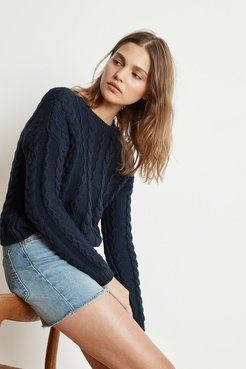 Arely Cotton Cable Knit Sweater (M), Velvet by Graham & Spencer