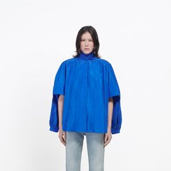 Double Sleeve Knotted Blouse Royal Blue