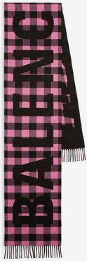 Checked Oversize Scarf Pink/black