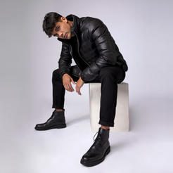 Mens Leather Puffer Jacket in Black