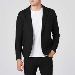 Mens Slim Wool Blazer with Leather Collar in Black