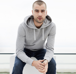 Mens French Terry Pullover Hoodie in Heather Grey