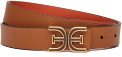 Mini Reversible Logo Belt Rust/Copper Leather