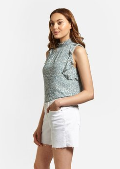 High Neck Ditsy Top Green