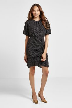 Chiffon Mini Ruched Dress Black/White