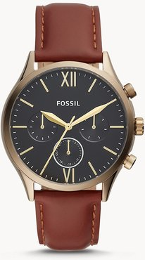 Fenmore Midsize Multifunction Brown Leather Watch jewelry