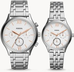 His And Her Fenmore Midsize Multifunction Stainless Steel Watch Gift Set jewelry