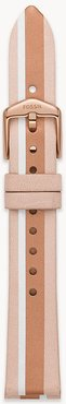 16Mm Blush Stripe Leather Strap