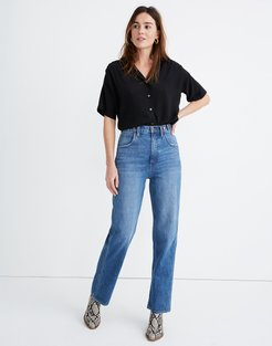 Tab-Waist Highest-Rise Straight Jeans in Delafield Wash