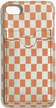 Leather Carryall Case for iPhone® 6/7/8 in Metallic Checkerboard