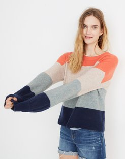 Striped Gladwell Balloon-Sleeve Pullover Sweater