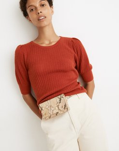 Pointelle Puff-Sleeve Sweater Tee