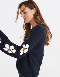 Belmore Floral-Sleeve Pullover Sweater in Coziest Textured Yarn