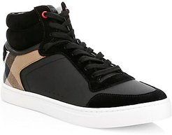 Reeth Patchwork High-Top Sneakers - Black - Size 42 (9)
