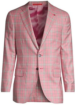 Plaid Cashmere & Silk Single-Breasted Jacket - Pink - Size 50 (40) R