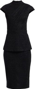 Kennedy Mockneck Cap Sleeve Midi Dress - Black - Size 34 (0)