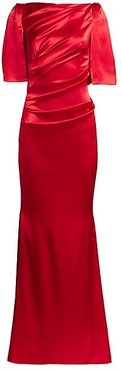 Wrapped Satin Cape-Sleeve Gown - Crimson - Size 14